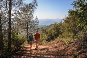 Hiking on Mount Konocti in Lake County, California.