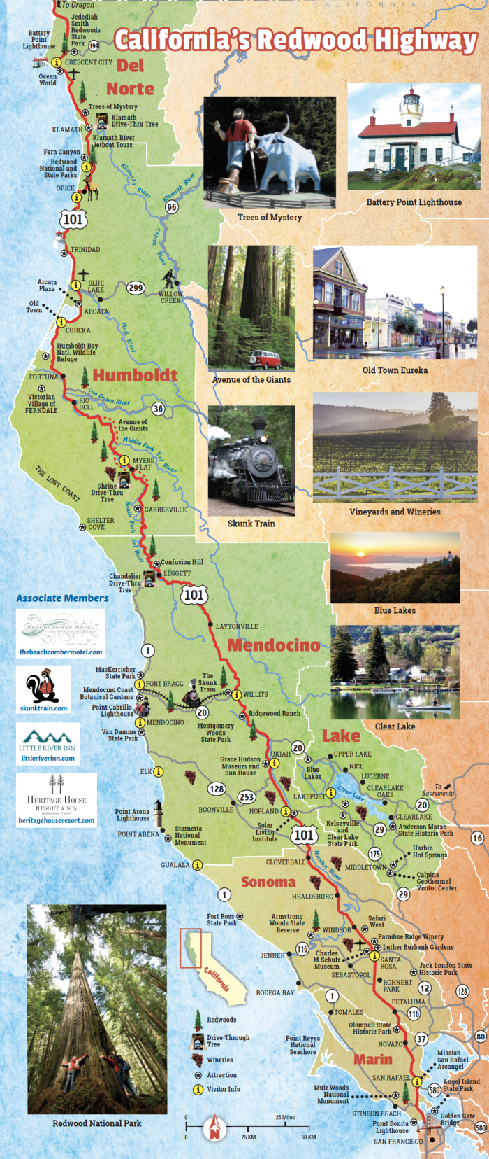 California Redwood Highway Map