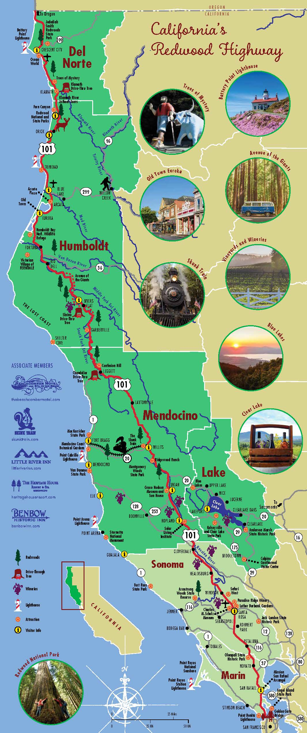 Redwood Highway Map