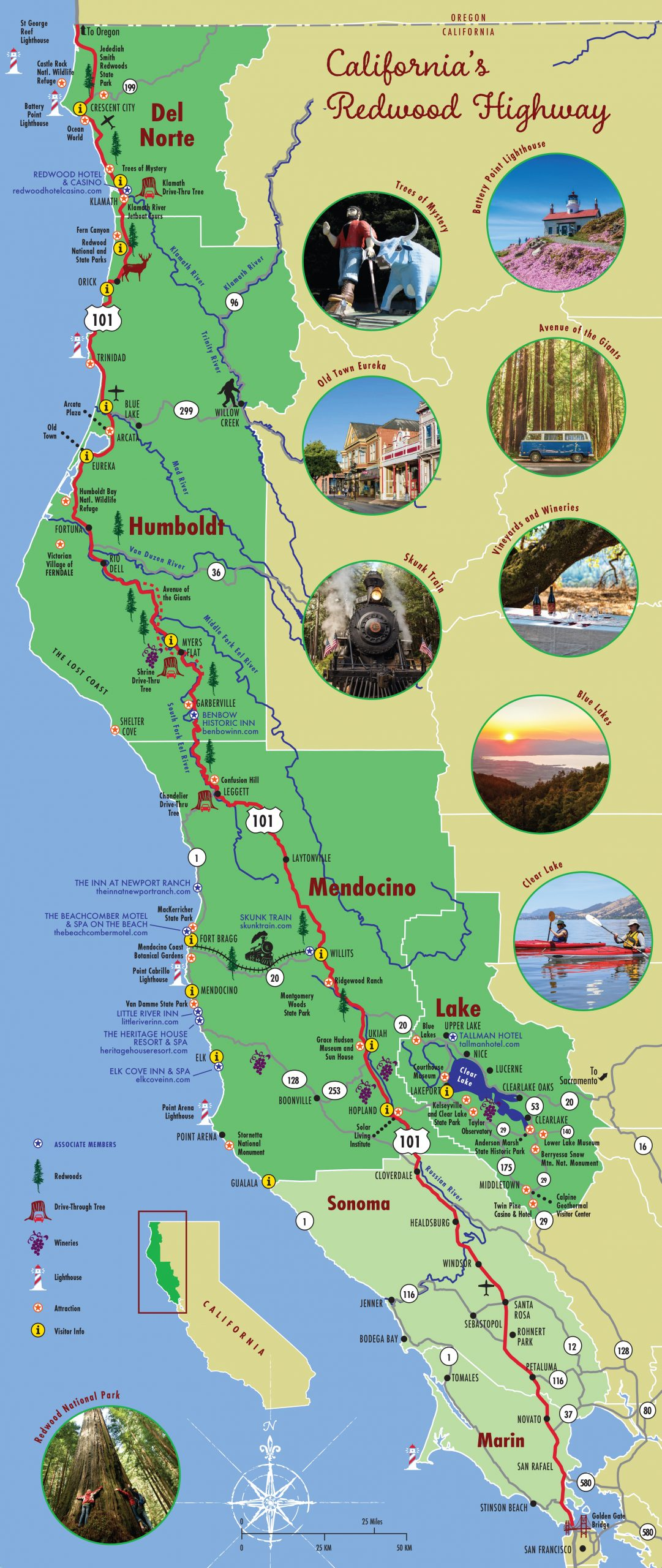 Northern California Map of the North Coast